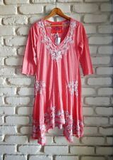 JWLA~New $168~JOHNNY WAS Soft Cotton Embroidered Summer 3/4 Sleeve Dress S