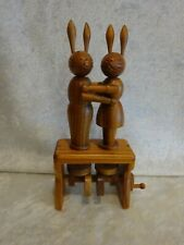 Carved Wood Kissing Rabbits Toy Rotating Mechanical Animated Hand Crank
