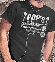 Pops Barber Shop Men`s T-Shirt Luke Cage Men Tees Marvel Comic Superhero Shirt