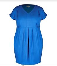 Plus Size Solid Blue Viscose Tunic / MID DRESS Size 26 (Free Post)