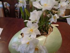 Pottery Barn Plop and Drop Easter Egg medium green paper white flowers  New