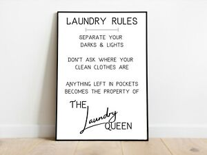 Laundry Room Rules Utility Room Kitchen Wall Print A3/A4/A5 Posters Gift Idea