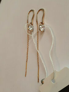 Beautiful CZs threader chain Earrings solid rose gold 585 14k NWT stamped 1,53g
