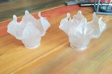 2 tulipes en verre blanc dépoli pour lustre applique vintage