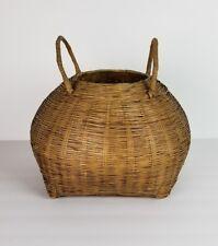 Vtg Basket Woven Fish Kreel Shape Primitive Bamboo Reed Base Asian Native Style