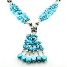 Necklace natural blue turquoise gemstone beaded chips handmade 98 gram