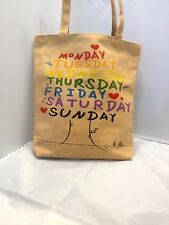 Days of the week Lady Full Size Fashion Pattern Canvas Rag Tote Handbag, Brown