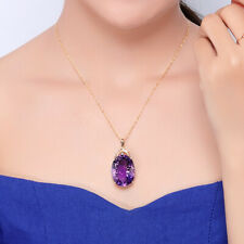 18k Gold Plated 36CT Amethyst Oval Crystal Pendant Necklace Lady Wedding Jewelry