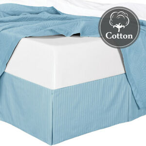 Queen Size 300TC Cotton Striped Pleated Tailored Bed Skirt with Split Corners