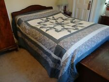 👉 VTG COTTON Handmade Patchwork Quilt Bedspread Double King BLUE  DITSY FLORAL