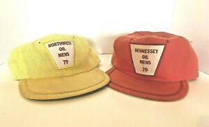 2 Vintage 1979 Oklahoma Oil Company Cap Hat Hennessey Northwest Cloth USA Made