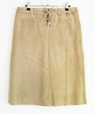 TOPSHOP size 10 skirt beige stone suede A line tie front knee length belt loops