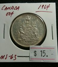Canada 1964 50 cent MS-63 Nice High UNC Silver Half Dollar Coin Lot#220