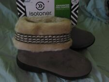 Womens Isotoner Woodland Faux Fur Tan Taupe Bootie Slippers sz 9.5-10
