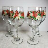 "4 pcs Stemware Wine Glasses Poinsettia Design 8 1/2"" Tall Weighted OA3C12"
