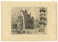 Herbert Railton Eng. Illustrator Engraved Plate 1908 Seeley & Co. Middle Temple