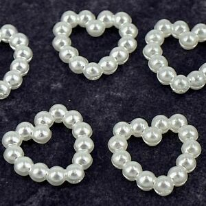 100 x  Ivory OR White Pearl Bows Hearts Wedding Invitation Craft Table Sprinkles