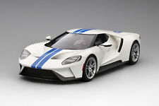 Top Speed Ford GT Frozen White - Lightning Blue Stripe 1/18