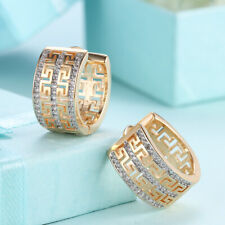 SMALL HUGGIE EAR RINGS - Women's - Gold Finish With Swarovski Crystals