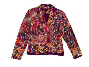 "Boho Chic Velour-Style Pink Floral/Flowers Jacket/Blazer, Sz 4 (36"" Bust)"