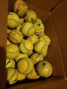 "7 Dozen (84) Mixed Used Mens 12"" softballs Worth, Champro, Tattoo. Good Practice"