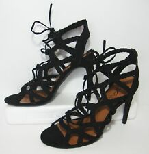 Candies Sexy Black Lace Up Cage Heels Womens 10
