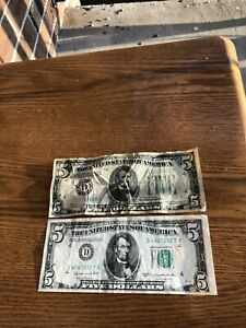 Two 5 Dollar Federal Reserve Notes 1934 and 1950
