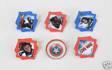 12 Captain America Civil War Divided Cup Cake Rings Topper Party Loot Bag Supply