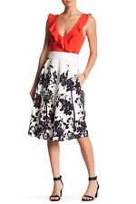 NWT TOV Womens Floral Detail A-Line Cotton Blend Skirt White Sz 42 US 8 Italy