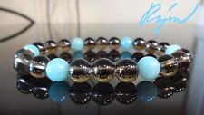 Genuine Smoky Quartz & Amazonite Bead Bracelet for Men or Women Stretch 8mm 7.5""