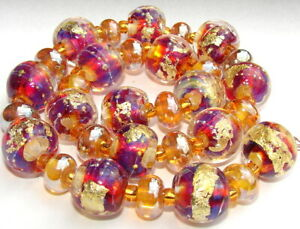 "Sistersbeads ""G-Golden Ruby"" Handmade Lampwork Beads"