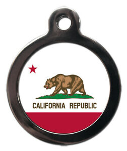 Pet ID tag Flag of California design, personalised