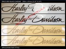 2 x 290mm HARLEY DAVIDSON style Tank decal sticker BLACK CHROME, GOLD + COLOURS