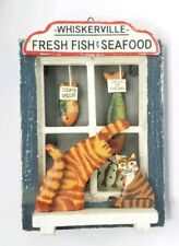 Folk Art Calico Cat 3-D Wall Hanging Window Whiskerville Fresh Fish & Seafood