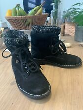 Topshop Black Suede Ankle Boots Size 5 / 38