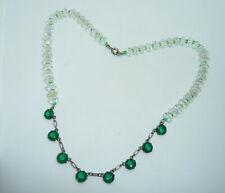 Clear Facet Cut Crystal Bead Necklace Vintage Art Deco Green Bezel Set &