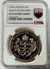 1990 GOLD GREAT BRITAIN 5 POUND SOVEREIGN QUEEN MOTHER BIRTHDAY NGC PROOF 67 UC