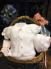 Will'beth Infant Newborn Baby Girl White Pink Knit Set Bonnet Take-Me-Home sz 0