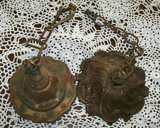 2 Antique Vintage Ornate Ceiling Canopies Chain Connector-Finials Mount Straps