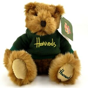 Harrods Knightsbridge London Soft Teddy Bear 11 in Green Embroidered Sweater Tag