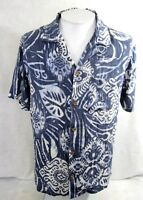 CARIBBEAN JOE Men Hawaiian ALOHA shirt pit to pit 24 L batik rayon blue luau