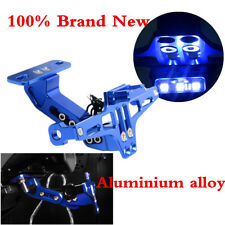 1 Pcs Motorcycle Multi-Angle Adjustable LED License Number Plate Bracket Blue