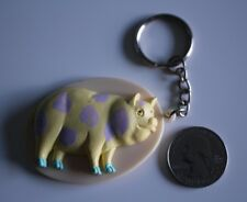 Cute Yellow Purple Spot Pig 3-D Plastic Oval Keychain Keyring #20599