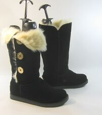 Black Round Toe Winter Mid-Calf Boots Side Gold Button Size 9.5
