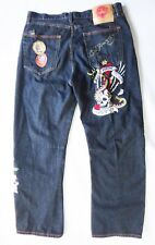 Ed Hardy embroidered NYC New york city skull jean 40 tattoo rose snake black don