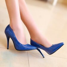 Women's Elegnat Patent Leather Pointed TOE High Heel Court Shoes Slip On Pumps