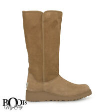 UGG KARA CHESTNUT TALL SUEDE / SHEEPSKIN WEDGE BOOTS SIZE US 8/UK 6.5/EU 39 NEW