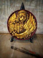 Bassorilievo leone di San Marco cotto dipinto oro foglia appendere 18 cm / moeca