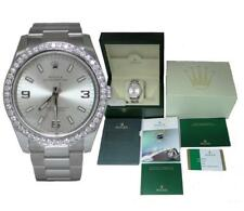ROLEX STAINLESS STEEL 1.40ct DIAMOND BEZEL OYSTER PERPETUAL WATCH 114200 34MM