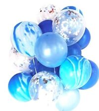 Blue Marble Silver Confetti Helium Balloons (20pcs) 1st Boy Birthday Baby Shower
